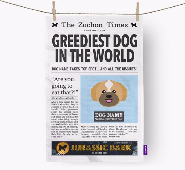 The Zuchon Times 'Greediest Dog In The World' Personalised Dish Towel