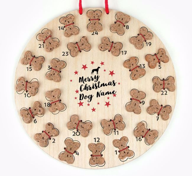 Personalised Dog Biscuit 'Merry Christmas' Advent Calendar with Great Dane Silhouette