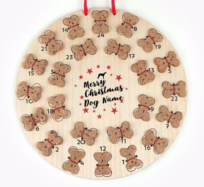Personalised Dog Biscuit 'Merry Christmas' Advent Calendar with Greyhound Silhouette