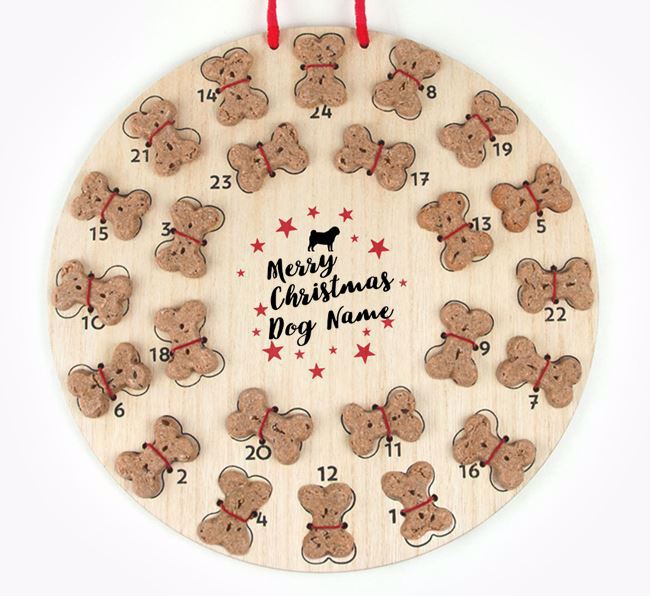 Personalised Dog Biscuit 'Merry Christmas' Advent Calendar with Pug Silhouette