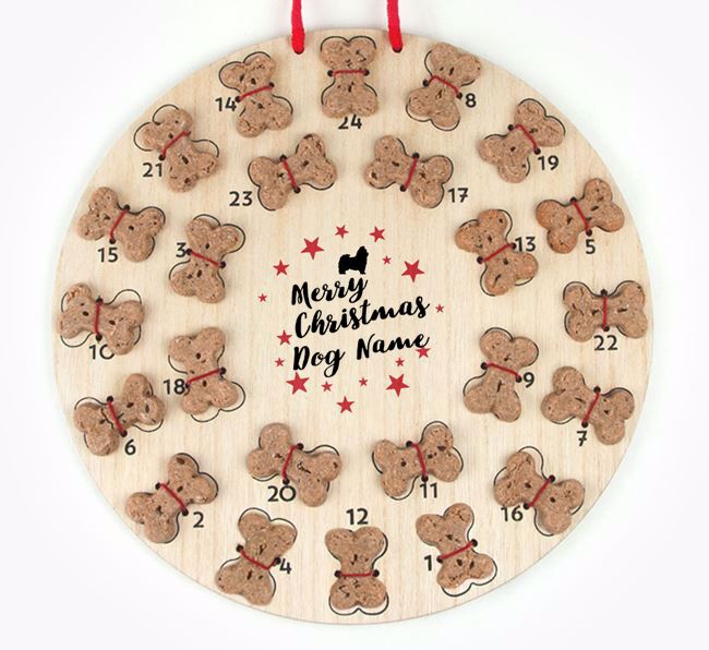 Personalised Dog Biscuit 'Merry Christmas' Advent Calendar with Shih Tzu Silhouette