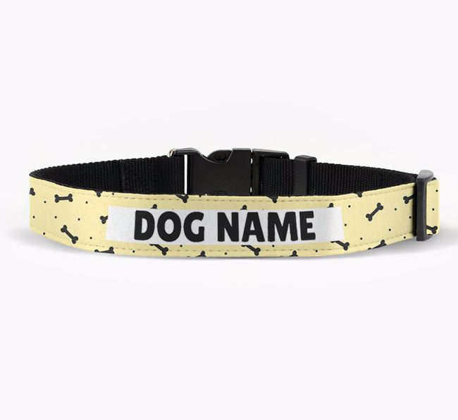 Personalised Fabric Collar with Bone Pattern for your Bolognese