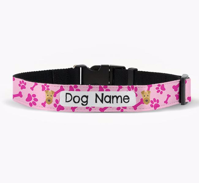 Personalised Fabric Collar with Bone and Paw Pattern and Airedale Terrier Icon