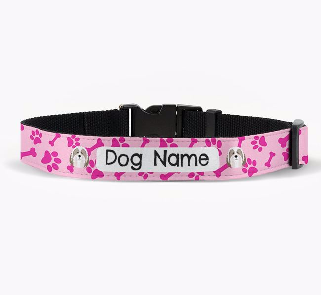 Personalised Fabric Collar with Bone and Paw Pattern and Bearded Collie Icon
