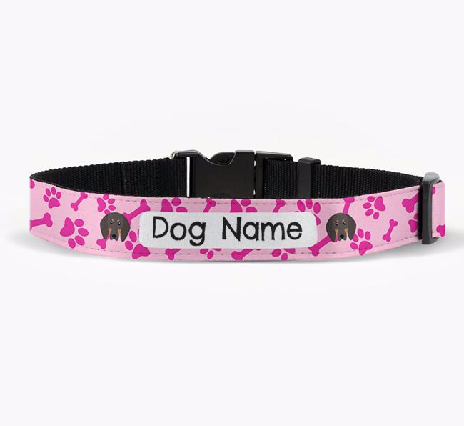 Personalised Fabric Collar with Bone and Paw Pattern and Black and Tan Coonhound Icon