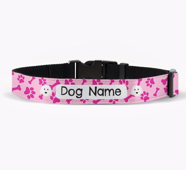 Personalised Fabric Collar with Bone and Paw Pattern and Cavachon Icon