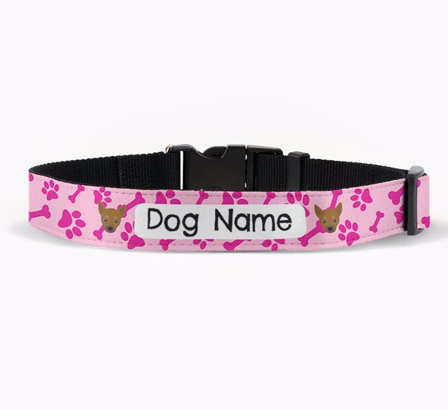 Personalised Fabric Collar with Bone and Paw Pattern and Chihuahua Icon