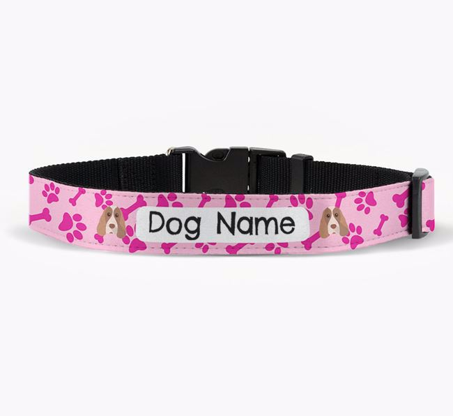 Personalised Fabric Collar with Bone and Paw Pattern and Cocker Spaniel Icon