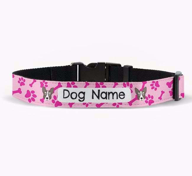 Personalised Fabric Collar with Bone and Paw Pattern and Corgi Icon