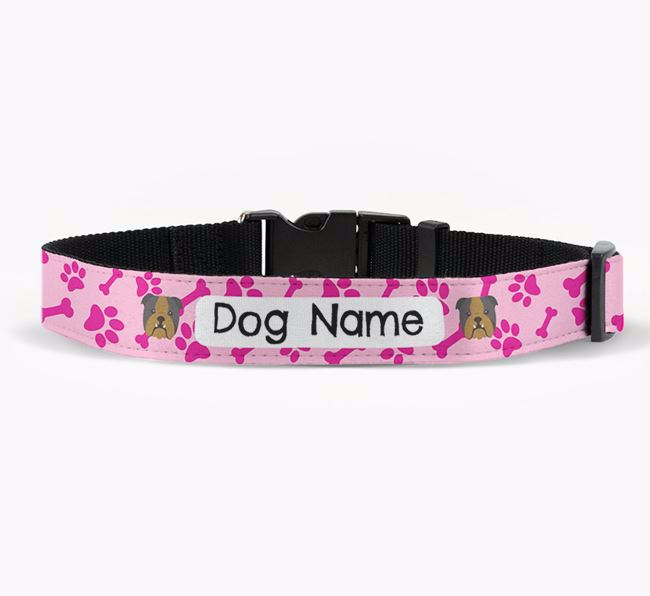 Personalised Fabric Collar with Bone and Paw Pattern and English Bulldog Icon