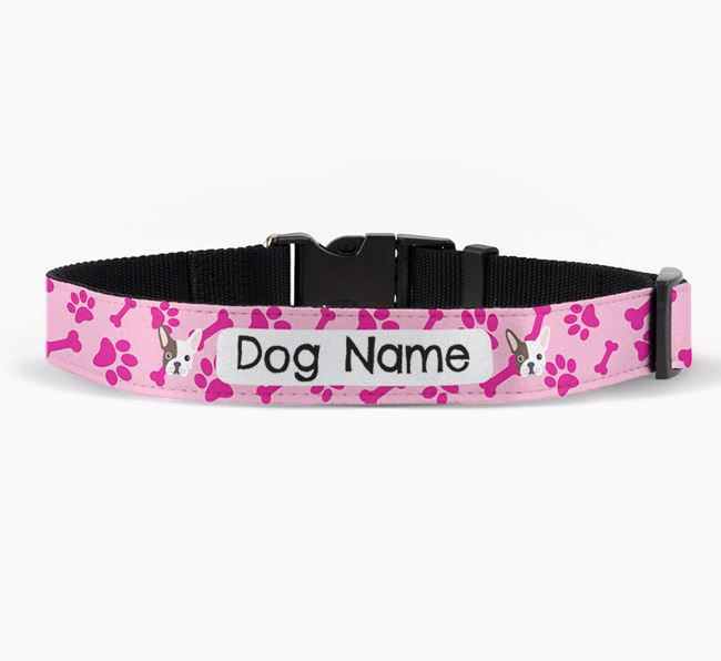 Personalised Fabric Collar with Bone and Paw Pattern and French Bulldog Icon