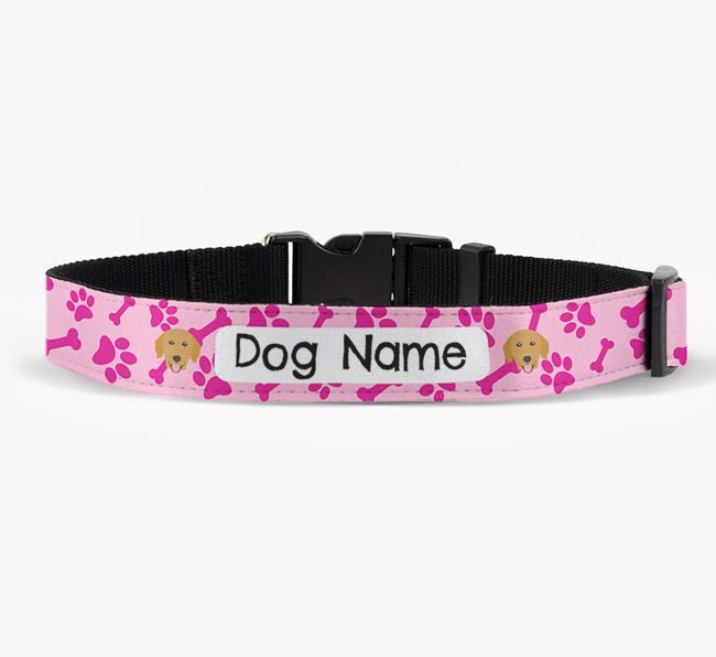 Personalised Fabric Collar with Bone and Paw Pattern and Golden Retriever Icon