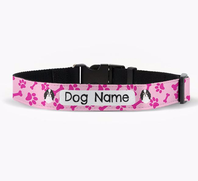 Personalised Fabric Collar with Bone and Paw Pattern and Japanese Chin Icon