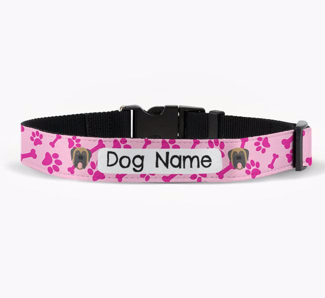 Personalised Fabric Collar with Bone and Paw Pattern and Mastiff Icon