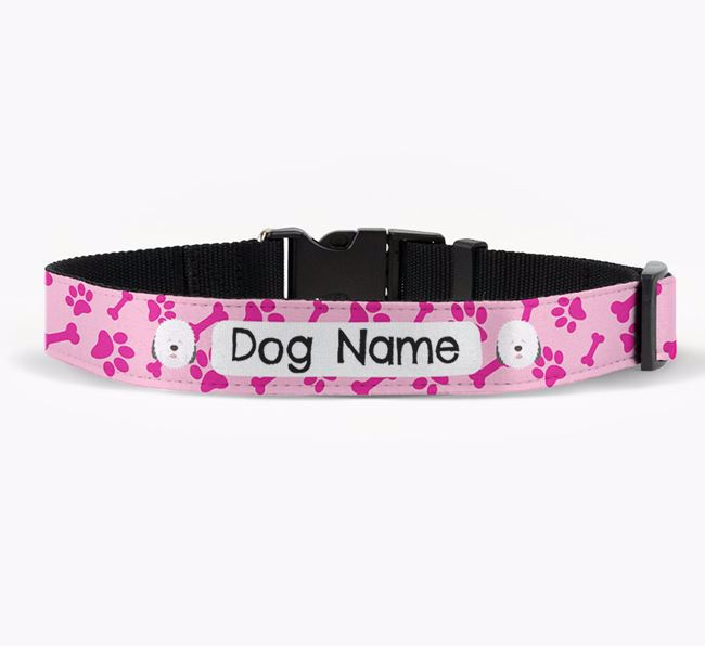 Personalised Fabric Collar with Bone and Paw Pattern and Old English Sheepdog Icon