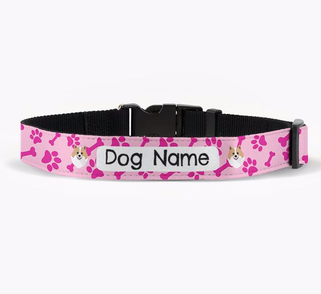 Personalised Fabric Collar with Bone and Paw Pattern and Pomeranian Icon