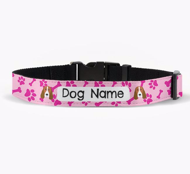 Personalised Fabric Collar with Bone and Paw Pattern and Springer Spaniel Icon