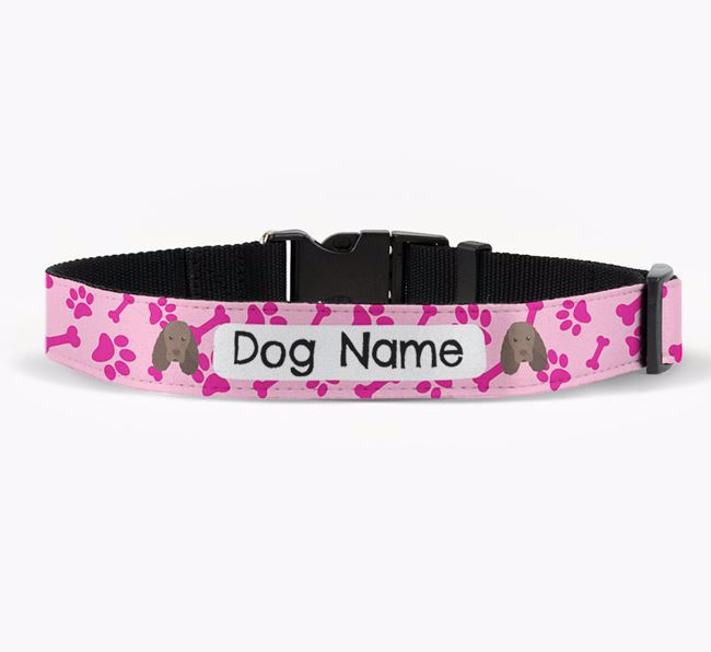 Personalised Fabric Collar with Bone and Paw Pattern and Sussex Spaniel Icon
