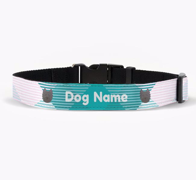 Personalised Fabric Collar with Tartan Pattern and Cairn Terrier Icon
