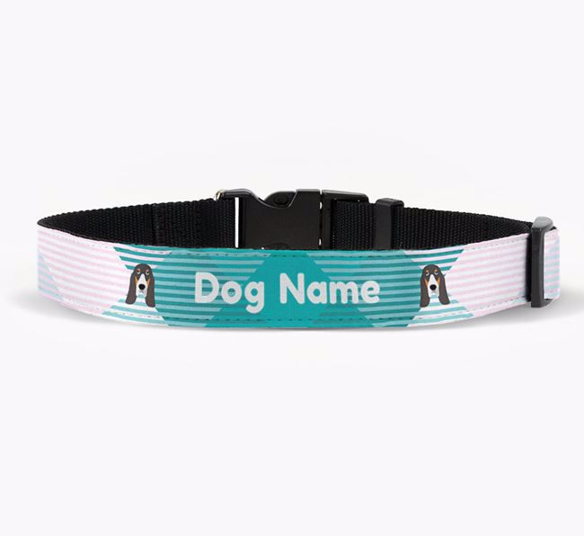 Personalised Fabric Collar with Tartan Pattern and Grand Bleu De Gascogne Icon