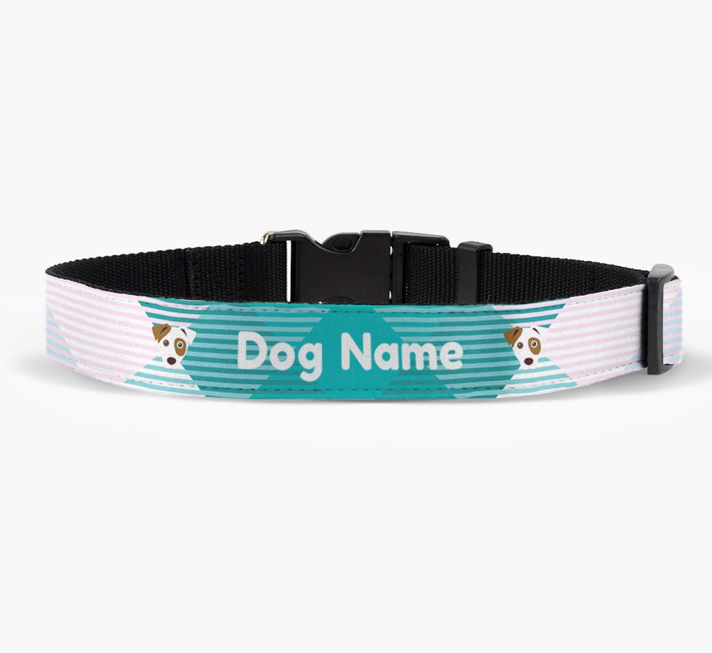 Personalised Fabric Collar with Tartan Pattern and Dog Icon front view