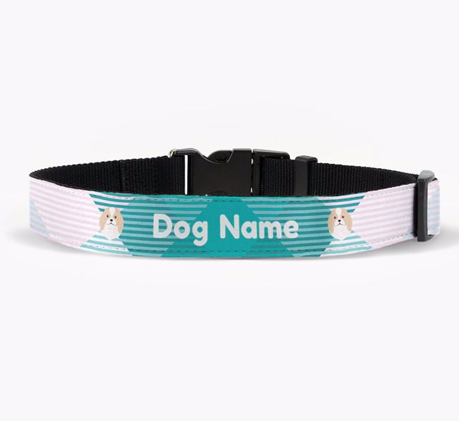 Personalised Fabric Collar with Tartan Pattern and Japanese Chin Icon
