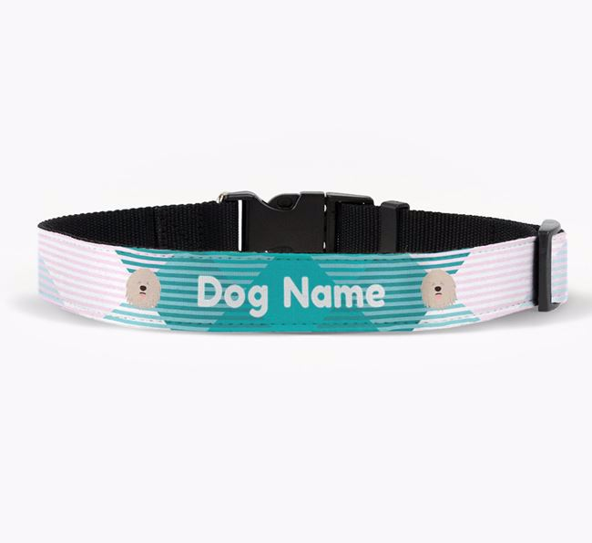 Personalised Fabric Collar with Tartan Pattern and Komondor Icon