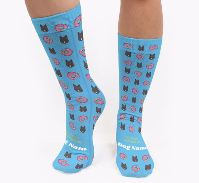 Personalised 'All I need is Doughnuts and Your Dog' Socks