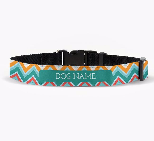 Personalised Fabric Collar with Zigzag Pattern for your Bearded Collie