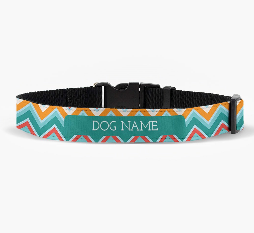 Personalised Fabric Collar with Zigzag Pattern for your Dog front view
