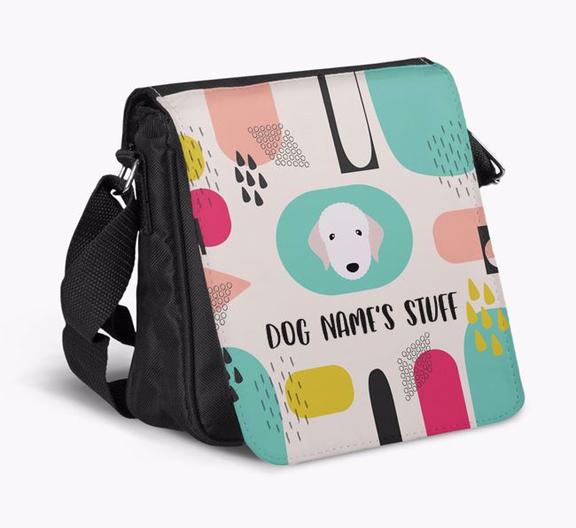 Personalised Shoulder Bag with Abstract Pattern and Bedlington Terrier Icon