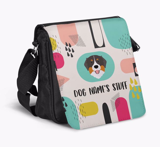 Personalised Shoulder Bag with Abstract Pattern and Bernese Mountain Dog Icon