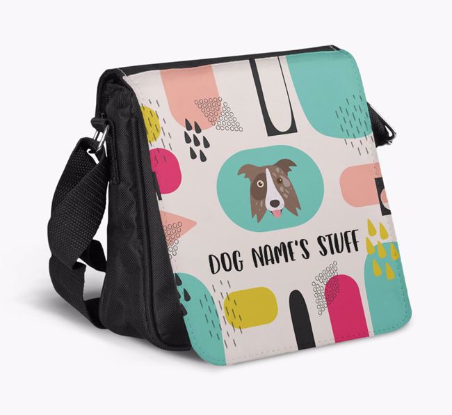 Personalised Shoulder Bag with Abstract Pattern and Border Collie Icon