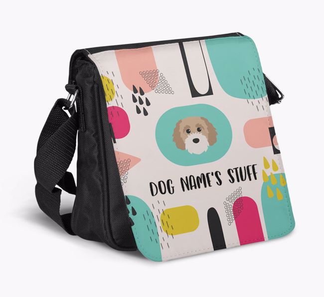 Personalised Shoulder Bag with Abstract Pattern and Cavapoochon Icon