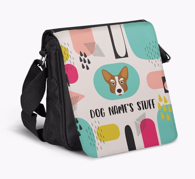 Personalised Shoulder Bag with Abstract Pattern and Corgi Icon