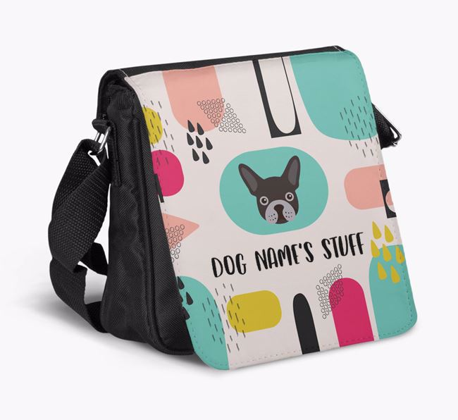 Personalised Shoulder Bag with Abstract Pattern and French Bulldog Icon