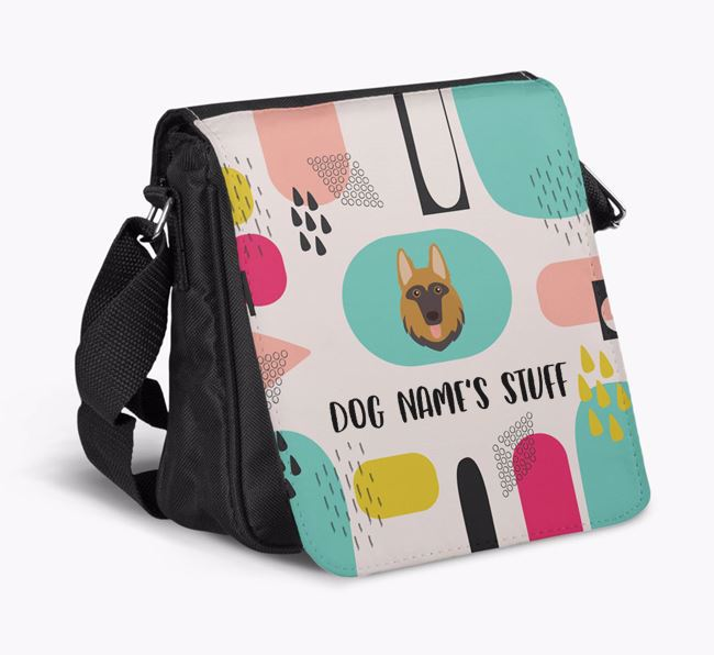 Personalised Shoulder Bag with Abstract Pattern and German Shepherd Icon