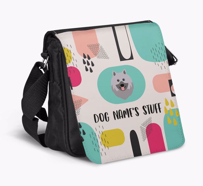 Personalised Shoulder Bag with Abstract Pattern and Keeshond Icon