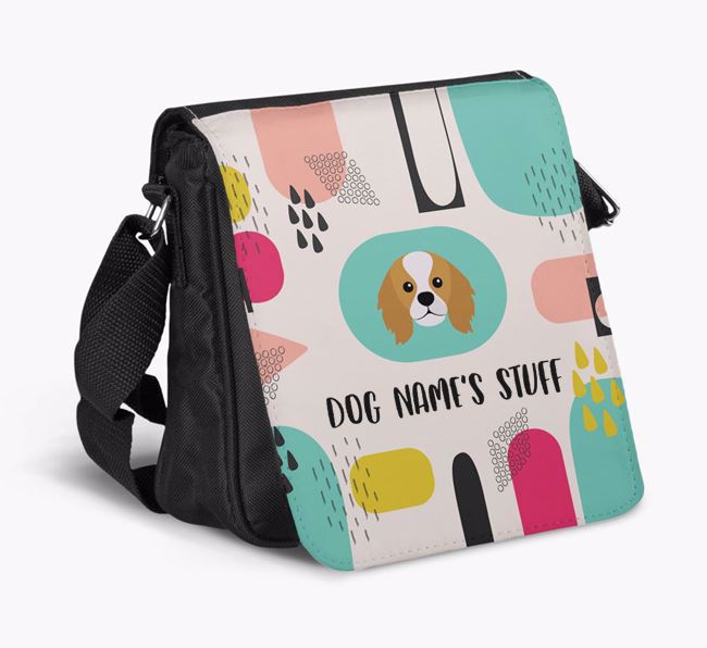Personalised Shoulder Bag with Abstract Pattern and King Charles Spaniel Icon