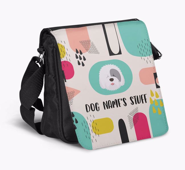 Personalised Shoulder Bag with Abstract Pattern and Old English Sheepdog Icon