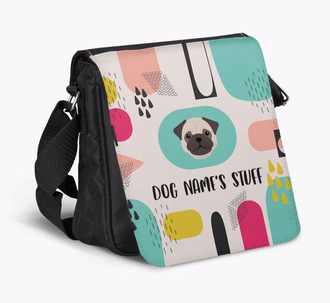 Personalised Shoulder Bag with Abstract Pattern and Pug Icon