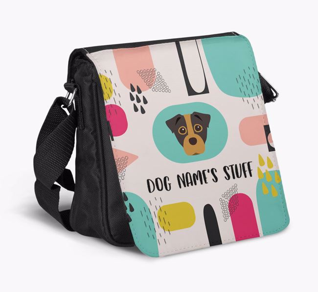 Personalised Shoulder Bag with Abstract Pattern and Staffy Jack Icon