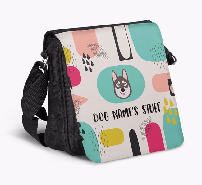 Personalised Shoulder Bag with Abstract Pattern and Tamaskan Icon