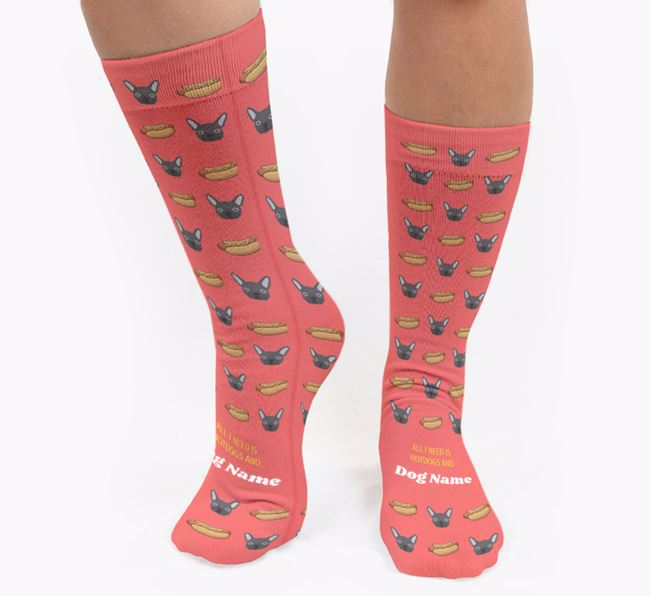 Personalised 'All I need is Hotdogs and Your Dog' Socks