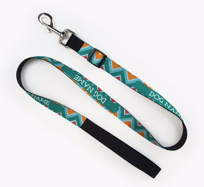 Personalised Fabric Lead with Zigzag Pattern for your Bearded Collie