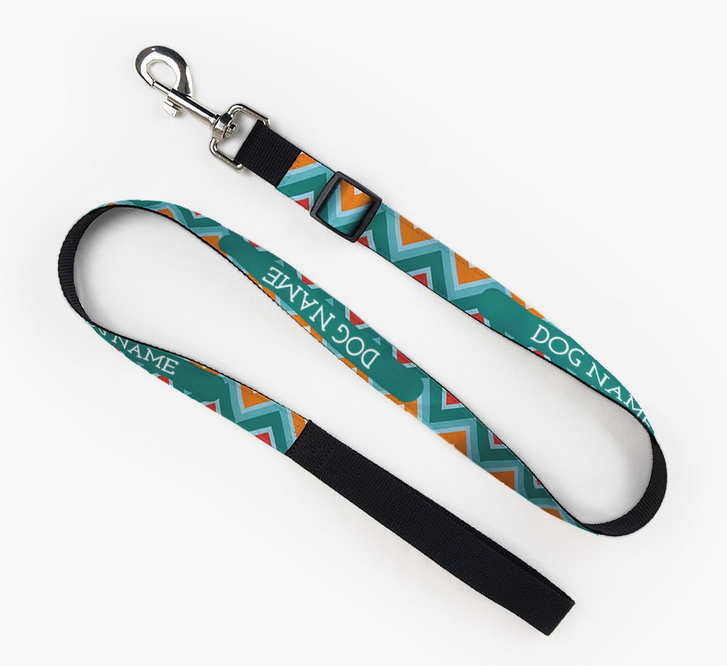 Personalised Fabric Lead with Zigzag Pattern for your Dog front view