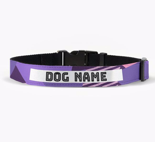 Personalised Fabric Collar with Geometric Stripes for your Beagle