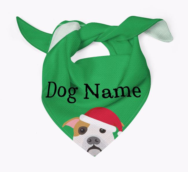 Personalised Christmas American Bulldog Icon 'Peeking' Bandana