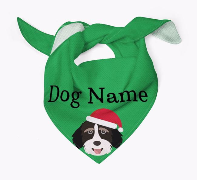Personalised Christmas Aussiedoodle Icon 'Peeking' Bandana