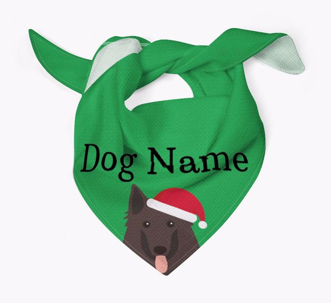 Personalised Christmas Belgian Groenendael Icon 'Peeking' Bandana